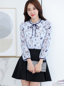 Chic Lace-Up Collar Chiffon Blouse