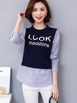 Stylish Letter Print Patchwork T-Shirt