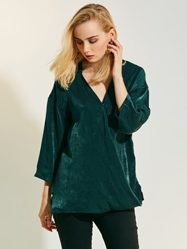 Chic V-Neck Plain Chiffon Women's Blouse