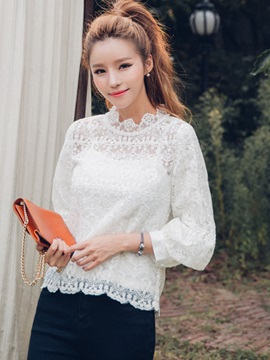 Stylish Sweet Lace Plain Blouse