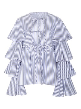 Stripe Frill Long Sleeve Blouse