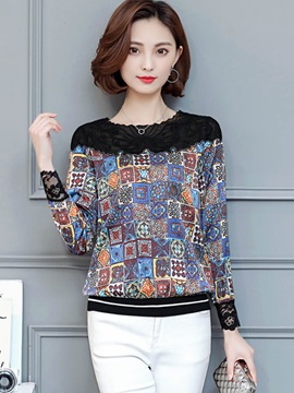 Chic Lace Shoulder Imprint Blouse