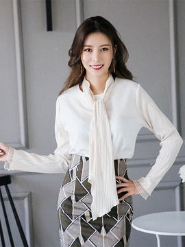 White Pleated Sleeve Chiffon Blouse