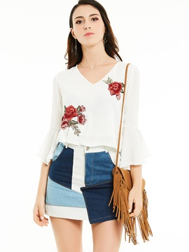 V-Neck Flare Sleeves Flower Embroidery Blouse
