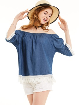 Slash Neck Patchwork Half Sleeve Blouse