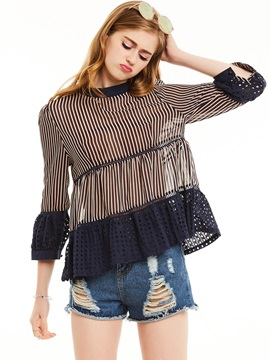 Stripe Falbala Patchwork Blouse