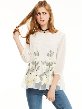 Stylish Cartoon Lantern Sleeve Blouse