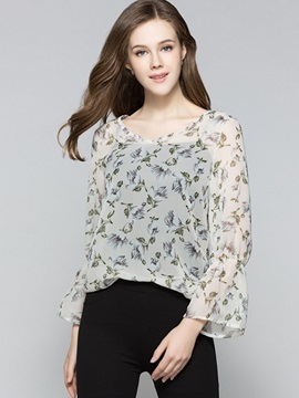 Floral See Through Flare Sleeve Blouse