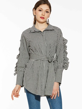 Turtleneck Falbala Patchwork Plaid Blouse