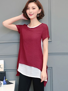 Loose Color Block Double-Layer Blouse