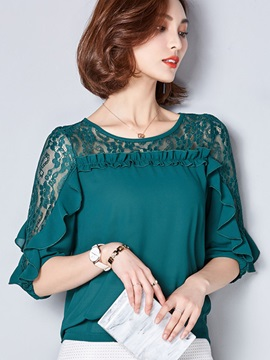 Plain Lace Patchwork Falbala Blouse
