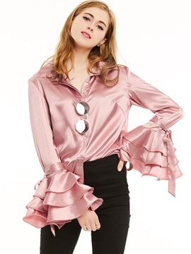 Stylish Plain Flare Sleeve Blouse