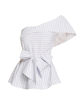 One Shoulder Stripe Bowknot Blouse