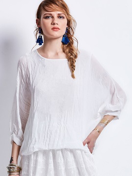 Loose Round Neck Plain Blouse
