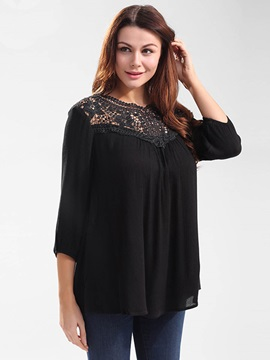 Loose Lace Patchwork Hollow T-Shirt