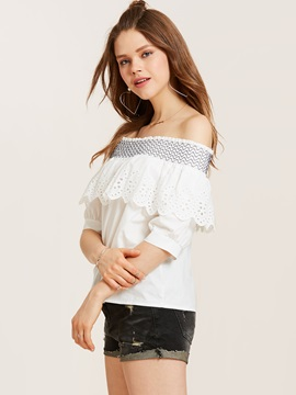 Slim Slash Neck Lantern Sleeve Blouse