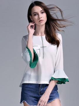 Round Neck Color Block Flare Sleeve T-Shirt