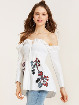 Off Shoulder Embroidery Falbala Patchwork Women's Blouse