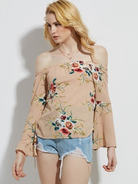 Slash Neck Flower Print Flare Sleeve Blouse