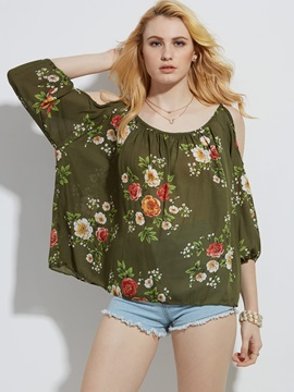 Flower Print Lantern Sleeve Cold Shoulder Women's Blouse
