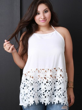Halter Backless Lace Patchwork T-Shirt