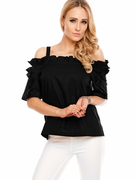 Ruffled Off-Shoulder Plain Women's Blouse