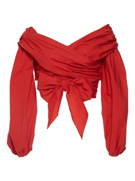 Red Wrap Bowknot Pleated Blouse