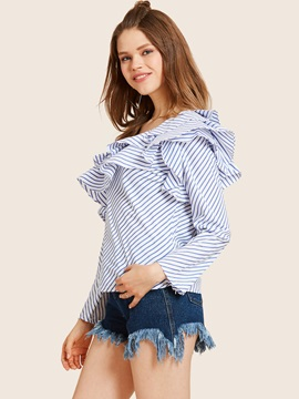 Chic Oblique Collar Stripe Falbala Blouse