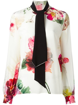 Slim Shawl Collar Floral Print Blouse