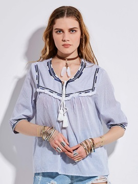 Bohoartist V-Neck Tassel Patchwork Stripe Blouse