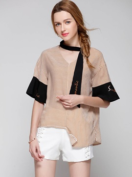 Loose V-Neck Stripe Asymmetric Blouse