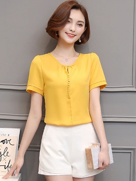 Chic Plain Round Neck Chiffon Blouse
