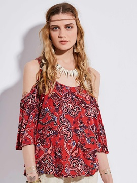 Bohoartist Print Cold Shoulder Blouse