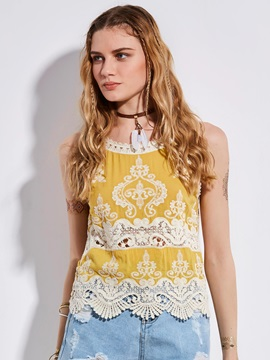 Bohoartist Lace Hollow Patchwork Tank Top