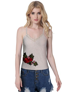 Slim Spaghetti Straps Embroidery Tank Top