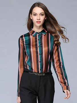 Lapel Color Block Stripe Shirt