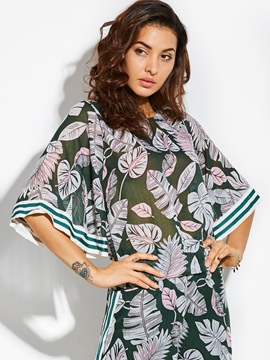 Round Neck Plant Print Bell Sleeve Blouse