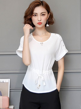 Ladylike Chiffon Plain Round Neck Blouse