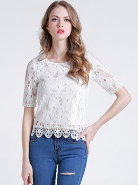 Slim Lace Crochet Blouse