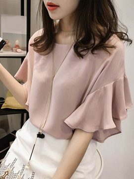 Chic Round Neck Flare Sleeve Blouse