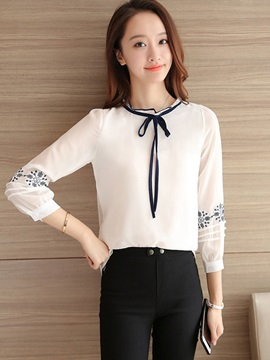 Stand Collar Embroidery Lace Up Blouse