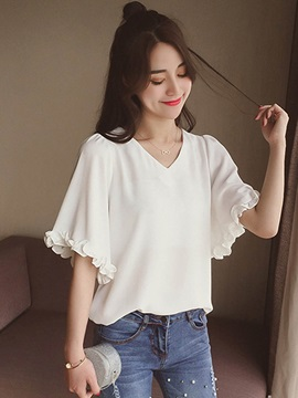 Loose V-Neck Chiffon Blouse