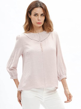 Round Neck Plain Bead Blouse