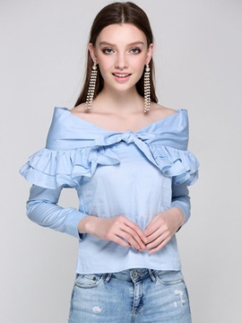 Plain Off Shoulder Falbala Blouse