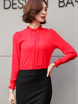 Stand Collar Slim Plain Chiffon Blouse