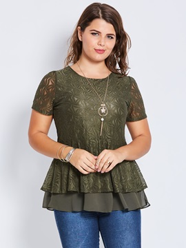 Plus Size Lace Double-Layer Blouse