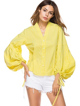 V-Neck Loose Stripe Lantern Sleeve Blouse
