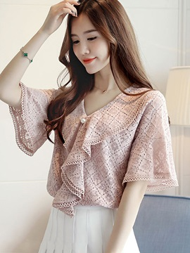 Lace Hollow Falabala Bell Sleeve Blouse