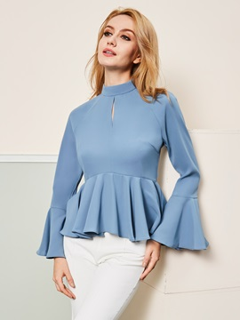 Stand Collar Skirt Hem Plain Women's Blouse