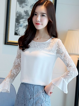 Ladylike Mesh See Through Flare Sleeve Blouse